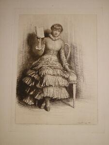Percy-THOMAS-1846-1922-GRAVURE-PORTRAIT-FEMME-ELEVE-WHISTLER-ORIGINAL-ETCHING