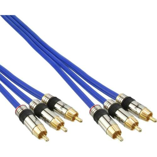 InLine® Cinch Kabel AUDIO//VIDEO 3x Cinch Stecker // PREMIUM vergoldete Stecker