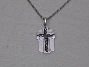 Ss Genuine Black Diamond Accent Men S Dogtag Cross Necklace Ebay