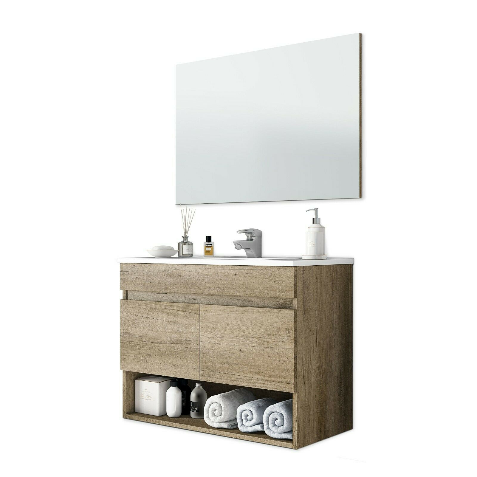s l1600 - Mueble de baño, módulo para lavabo, 2 puertas con espejo Nordik, Cotton