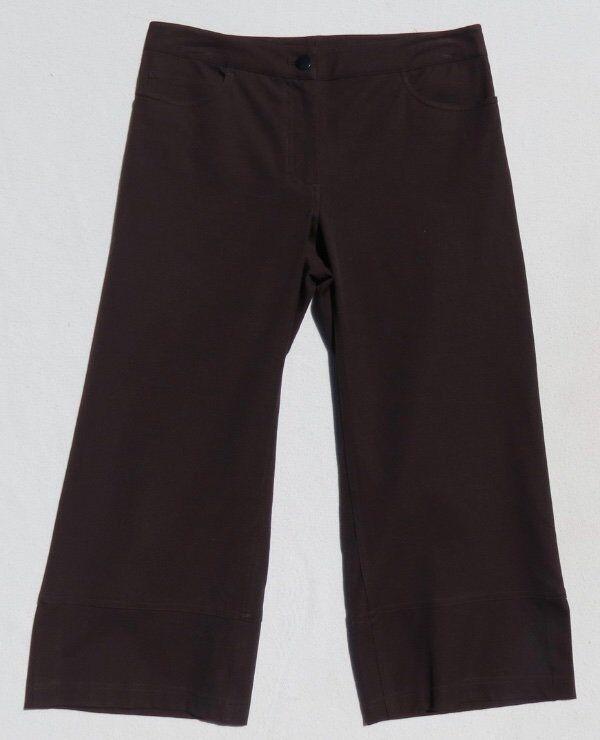 EILEEN FISHER Petite Brown Stretch Cotton Wide Leg Crop Pants size PP 4 6 EUC