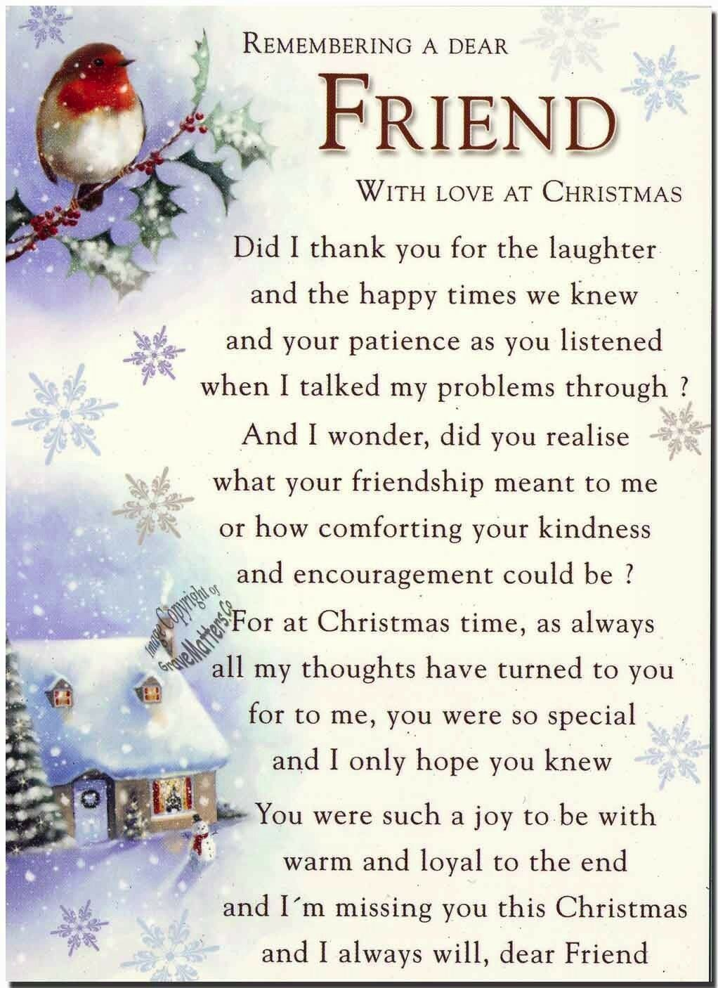 Christmas grave card special friend free holder c115 memoriam christmas grave memoriam card remembering a special friend with love at christmas c1 15 kristyandbryce Images