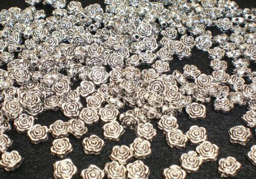 100 SPACER Blume ROSE 6mm Zwischenperlen Farbe antiksilber METALLPERLEN #S068