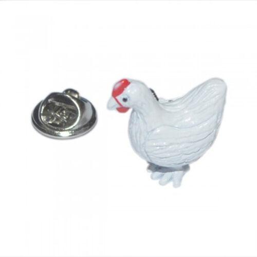 3D Detailed Chicken Metal Pin Badge farm chicken hen run free range AJTP304