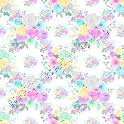 """GLITTER, GORGEOUS /""""PASTEL ROSES/"""" SUMMER  PRINTED FABRIC SHEET..HAIR BOWS"""