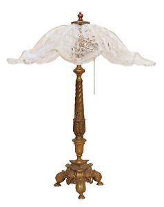 Sehr große elegante Jugendstil Tischleuchte Messinglampe Unikat 1940 Löwenköpfe