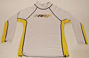 Reef-Men-039-s-White-Yellow-Rash-Guard-Long-Sleeve-Logo-Size-M-Medium-Used-Condition