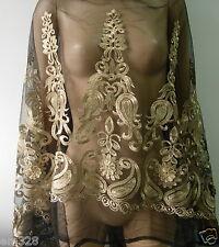 """LE16 56"""" Fleur De Lis Gold Trim Lace Tulle Fabric Black 1yard"""