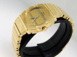 Piaget-Lady-039-s-Polo-861-C-701-18k-Gold-w-Bracelet-24x27mm-1980-90s-10-000-LNIB