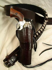 Details about 357 Ruger Colt Uberti Western Fast Draw Sixgun Pistol Leather  Gun Holster Belt
