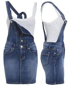 NEW-Womens-Denim-Dungaree-Dress-Ladies-Jean-Pinafore-Skirt-Blue-Sizes-8-10-12-14