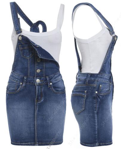 Grembiulino 14 Donna Salopette Taglie 8 10 Jeans 12 Nuovo Denim Abito Blu pXqPC