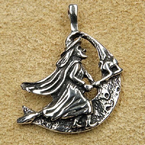 925 Silber Anhänger Mondhexe Mond-Hexe fliegende Hexe mit Besen und Katze
