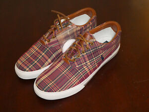 Polo-Ralph-Lauren-Vaughn-mens-shoes-sneakers-new-wine-leather-plaid