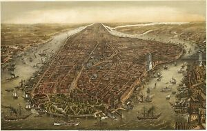 VINTAGE 1870 NEW YORK CITY MAP POSTER PRINT 24x36 HI RES 9MIL PAPER