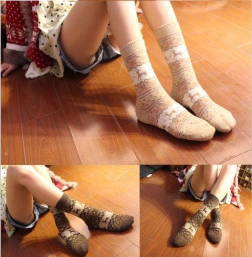 Women Winter Warm Socks Wool Sock Cute Snowflake Deer Comfortable Christmas Gift