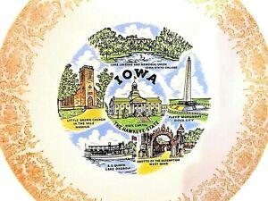 9-034-State-of-Iowa-Plate-Lake-Okoboji-SS-Queen-Hawkeye-Gold-Gilt