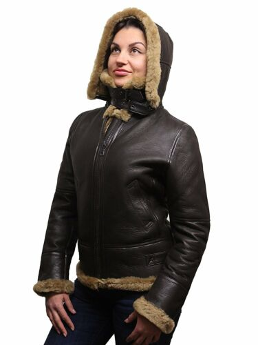 Leather Flying Womens Genuine Brandslock Hooded Pilot Sheepskin Aviation Jacket Bx1fwEwHyq