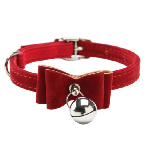 Cat Bell Tie Fashion Bowtie Kitten Puppy Collar Butterfly Knot PU Leather Pet