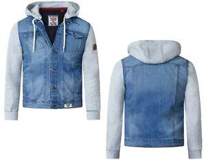 D555-Mens-Big-Size-Lester-Vintage-Blue-Long-Sleeve-Fleece-Hooded-Denim-Jacket