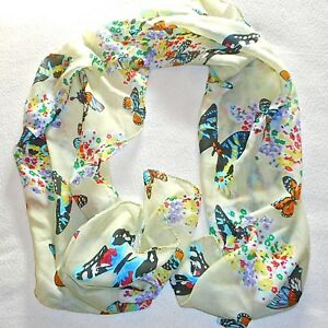 BEAUTIFUL-FAUX-SILK-SCARF-54-034-X-16-034-APPROX-WITH-BUTTERFLIES-DESIGN-UNBRANDED
