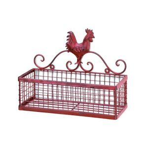 COUNTRY-KITCHEN-DECOR-RED-ROOSTER-METAL-SINGLE-WALL-BASKET-RACK