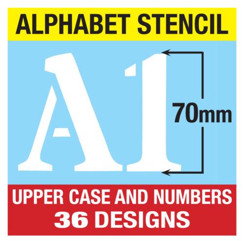 Pochoir Lettres//Chiffres 70mm Grand 6 X Pages Romain Capitales Alphabet 7cm