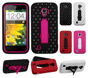 For-ZTE-Majesty-796C-HYBRID-IMPACT-KICK-STAND-Dazzling-Diamond-Case-Phone-Cover