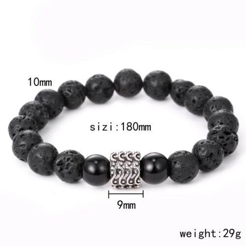 Fashion Handmade Lava Stone Wave Crâne Homme Bracelet Perles Bracelet Bangle Cadeau