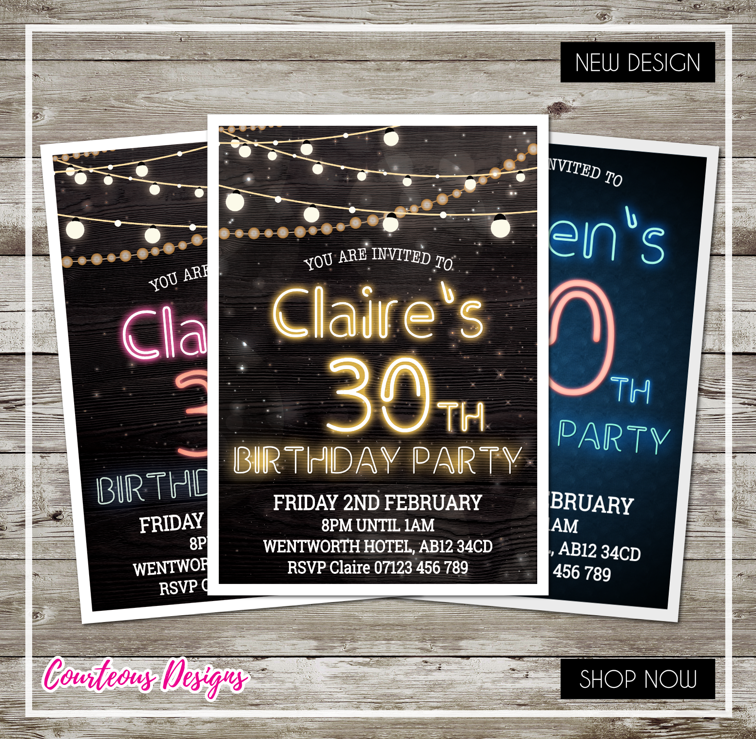 Personalised Birthday Party Invitations 30th 40th 50th 60th 21st Neon Lights