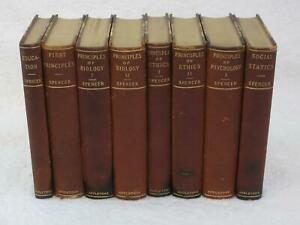 Lot of 8 HERBERT SPENCER'S WORKS D. Appleton and Company 1896 Half Leather
