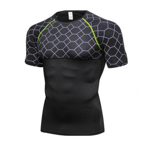 Men/'s Fitness T Shirt Muscle Top Base layer Sports Workout Training Shirt