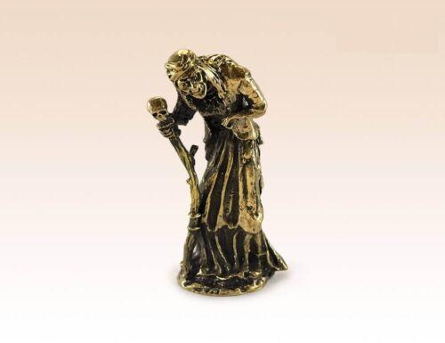 Baba Yaga with Staff Miniature Manual Processing Bronze Figurine