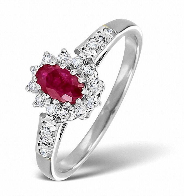 Engagement Ring Ruby and Diamond White gold Sizes F - Z Appraisal Certificate