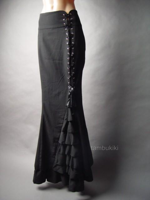 Victorian Steampunk Goth High Waist Corset Fishtail Hem Mermaid Long 54 mv Skirt
