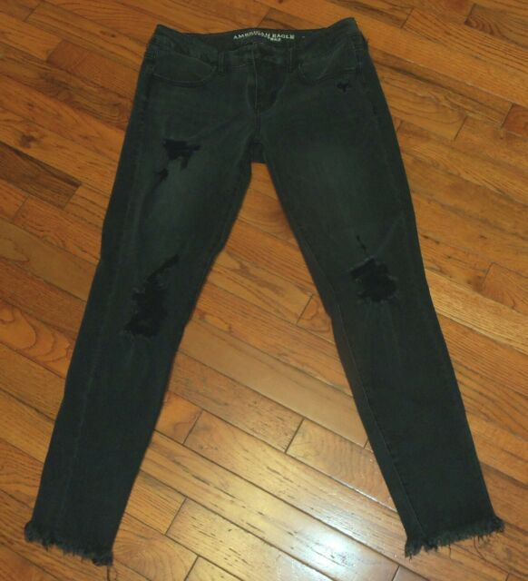 Womens AE American Eagle Super Low Super Stretch X4 Black Jeans Jegging Size 8