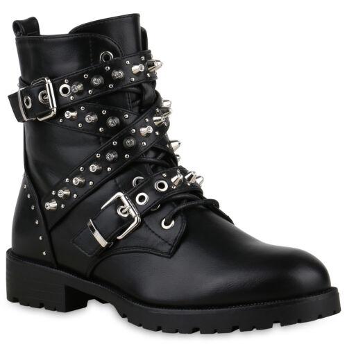 Damen Stiefeletten Schnürstiefeletten Lack Stiefel Kroko Boots 826039 Trendy