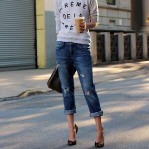 NWT Current//Elliott The Fling Relaxed Fit Jean Super Loved Destroy $228