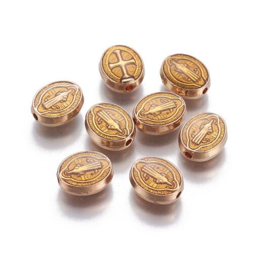 10pcs Alloy Oval Bead Saint Benedict Cross Goldenrod Spacer DIY Jewelry 10x8.5mm