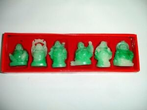 Set-of-6-JADE-clear-COLOR-Feng-Shui-Laughing-HAPPY-Buddha-Figures-amp-Statue-Luck