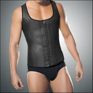 5194ec91d Latex Waist Trainer Vest for Men Black Waist Cincher Firm Tummy ...