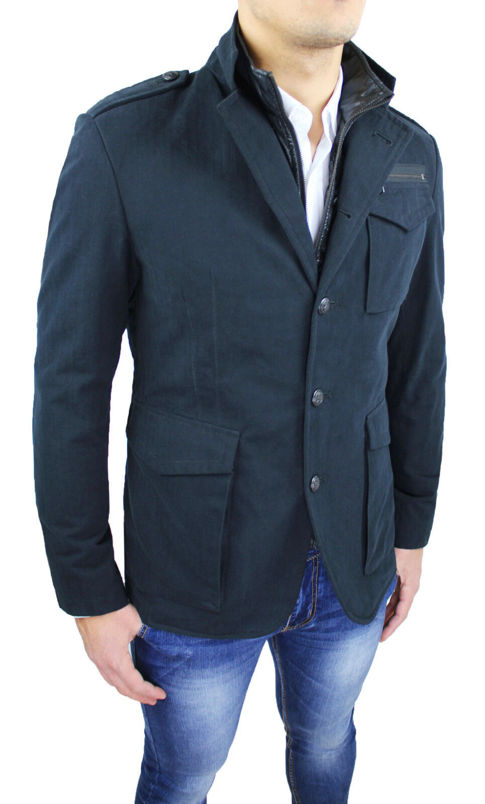 Coat Man a.Gilles Sartorial Made in   Smart Casual Navy Tag M L XL  the newest brands outlet online