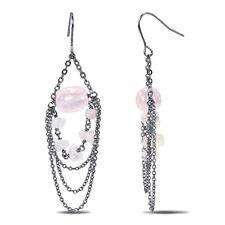 Amour Silvertone 30 Ct TGW Rose Quartz Dangle Hook Nickle Free Earrings