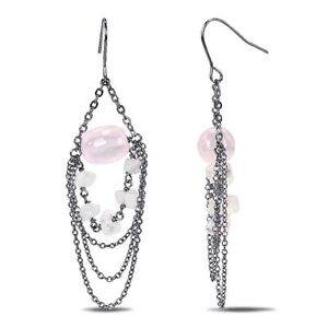 Amour Silvertone 30 Ct TGW Rose Quartz Dangle Hook Nickle Free Earrings
