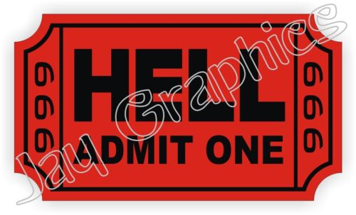 Funny Helmet Decal Label Tool Box Motorcycle Ticket To Hell Hard Hat Sticker