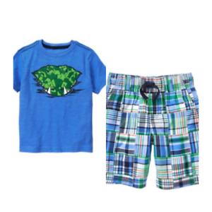 Gymboree Outdoor Explorer 6 10 Snake Tee Patchwork Plaid Shorts Set Green