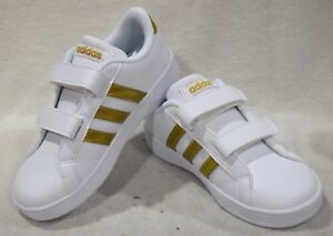 Details about adidas Baseline CMF INF White/Gold Girl's Toddler  Sneaker-Size 6/10K NWB AC7438