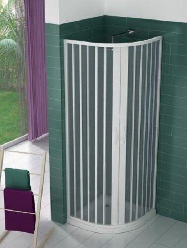Mampara ducha semi-circular extensible en PVC apertura central dos hojas
