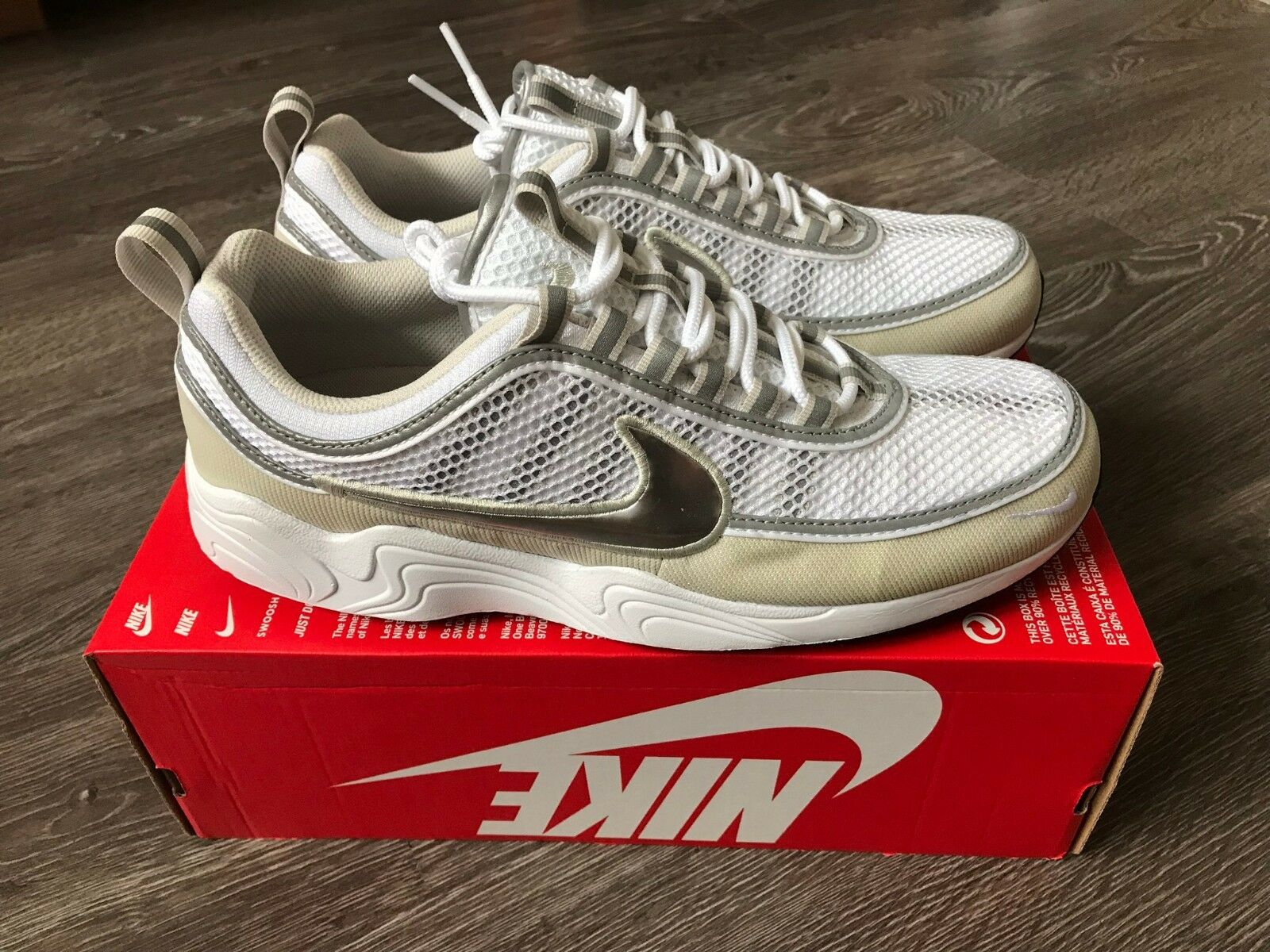 Nike Air Grey Zoom Spiridon '16 White Metallic Silver Bone Grey Air 926955-105 Men's 12 49a67b