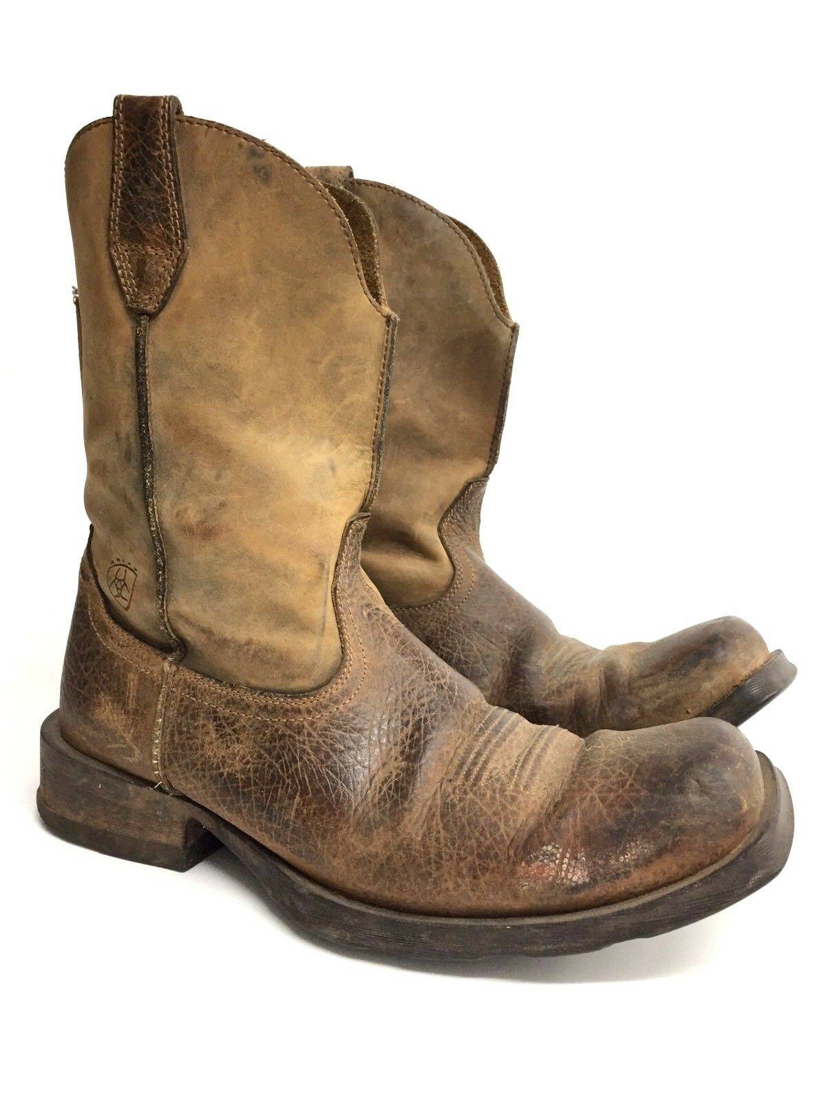 Ariat Men's Size 11 D Brown Distressed Leather Cowboy Western Boot Decor Display